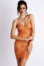 Load image into Gallery viewer, Mariela Orange Lace Cocktail Dress - Short Dress - BACCIO Couture