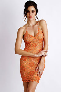Mariela Orange Lace Cocktail Dress - Short Dress - BACCIO Couture