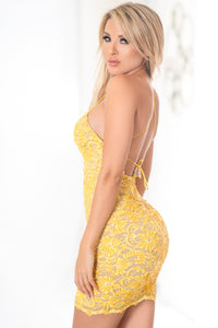 Mariella Yellow Short Dress - Cocktail Dress - BACCIO Couture
