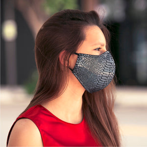 Gunmetal Reptile Hologram face masks, washable face mask, reusable face masks, unisex face mask - BACCIO Couture