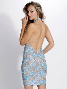 Gloria Turquoise Platinum Cocktail Dress - Short Dress - BACCIO Couture