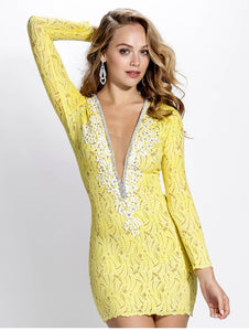 Hellen Yellow White Cocktail Dress - Short Dress - BACCIO Couture