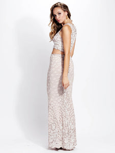 Lidia Pearl Stretch Lace Jersey Handpainted Gowns - Long Dress