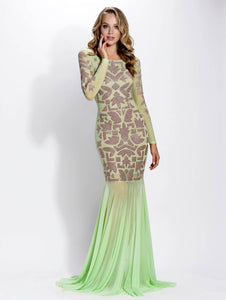 Sade Mesh Mint Nude Long Dress - Gowns - BACCIO Couture
