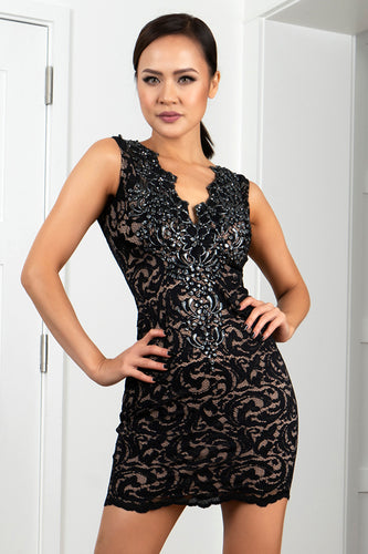 Milly Stretch Lace Black Cocktail Dress - Short Dress - BACCIO Couture