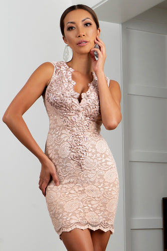Milly Stretch Lace Cocktail Dress Cream Short Dress - Cocktail Dress - BACCIO Couture