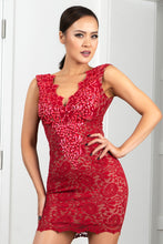 Load image into Gallery viewer, Milly Stretch Lace Cocktail Dress Red Short Dress - Cocktail Dress - BACCIO Couture