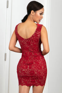 Milly Stretch Lace Cocktail Dress Red Short Dress - Cocktail Dress - BACCIO Couture