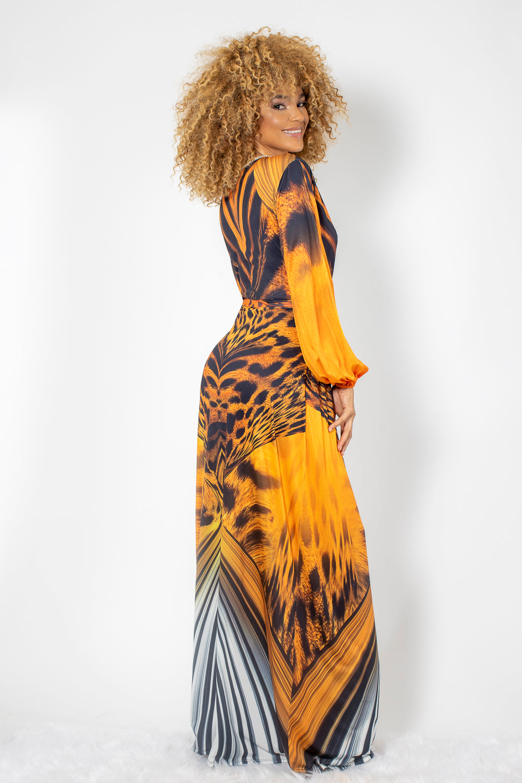 Mimi Orange Leopard Spandex with Gold Crystals Long Dress - BACCIO Couture