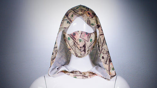 Money Print Hoodie Head Cover Washable and Reusable - BACCIO Couture