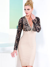 Load image into Gallery viewer, Naty Black Nude Bandage Short Dress - Cocktail Dress - BACCIO Couture