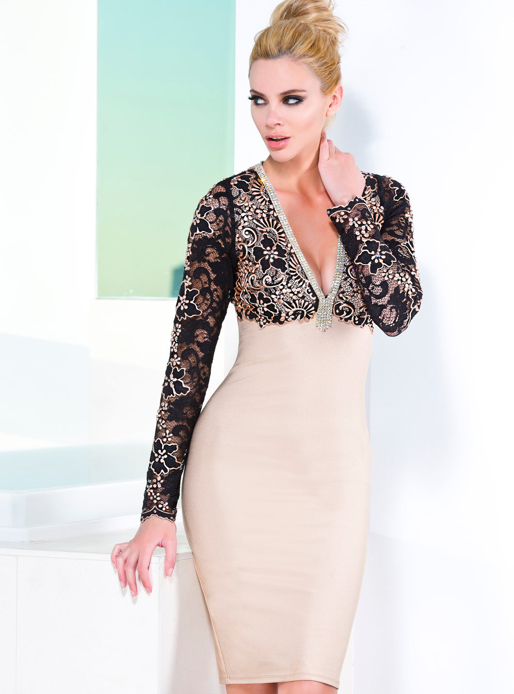 Naty Black Nude Bandage Short Dress - Cocktail Dress - BACCIO Couture