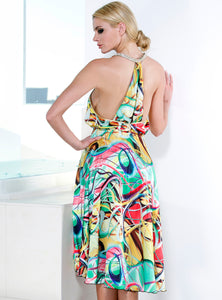 Nelly 100% Silk Charmeuse Multicolor Short Dress - Cocktail Dress - BACCIO Couture