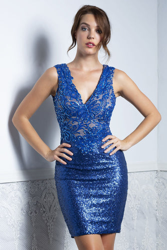 Priscilla Blue Sequence Short Dress - Cocktail Dress - BACCIO Couture