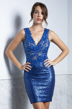 Load image into Gallery viewer, Priscilla Blue Sequence Short Dress - Cocktail Dress - BACCIO Couture