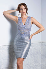 Load image into Gallery viewer, Priscilla Platinum Short Dress - Cocktail Dress - BACCIO Couture