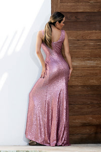 Roma Sequins Pink Hand-painted Long Dress - BACCIO Couture