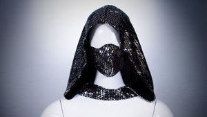 Silver Sequins Hoodie Head Cover Washable and Reusable - BACCIO Couture
