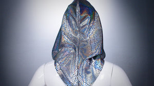 Silver Reptile Hoodie Head Cover Washable and Reusable - BACCIO Couture