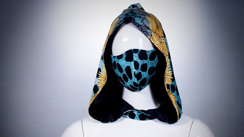 Turquoise Leopard Hoodie Head Cover Washable and Reusable - BACCIO Couture