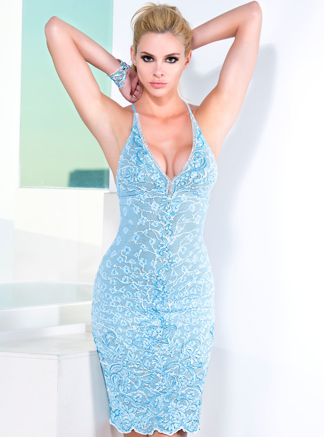 Sol Ligth Blue Short Dress - Cocktail Dress - BACCIO Couture