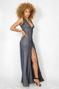 Susan Black and Silver with Grey Crystal Long Dress - BACCIO Couture