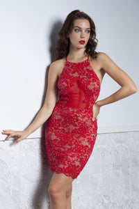 TANIA Red Lace Short Dress - Cocktail Dress - BACCIO Couture
