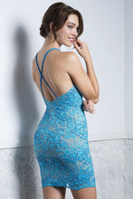 Load image into Gallery viewer, TANIA Aqua Straps Short Dress - Cocktail Dress - BACCIO Couture