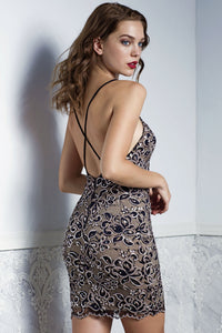 TANIA Brown Lace Short Dress - Cocktail Dress - BACCIO Couture