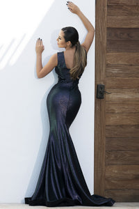 Valentina Deep Blue Metallic Hand-painted Long Dress - BACCIO Couture