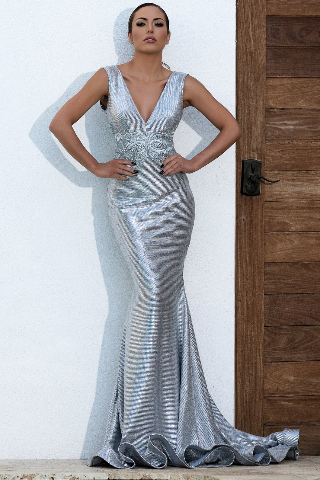 Valentina Metallic Silver Handpainted Long Dress. Gowns - BACCIO Couture