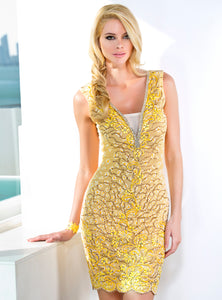 Yellow short dress. Stretch lace handpainted cocktail dress. Short dress near miami. Cocktail party dress for sale. Handmade shape short dresses for party. Cocktail party dress for woman. Latest Miami fashion short dress for sale. Love short handmade dress