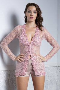 Xia Pink Long Sleeves Top and Short Set - BACCIO Couture