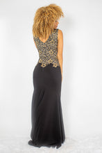 Load image into Gallery viewer, Amanda Black with Gold Crystal Long Dress - BACCIO Couture