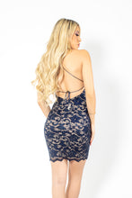 Load image into Gallery viewer, Naylet Full Crystal Navy Blue Cocktail Dress - BACCIO Couture