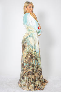 Jungle Print in Silk with Gold Crystals Long Dress - BACCIO Couture