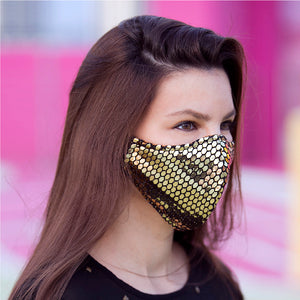 Face Mask Sequins Gold, washable face mask, reusable face masks, unisex face mask - BACCIO Couture