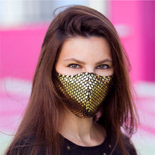 Load image into Gallery viewer, Face Mask Sequins Gold, washable face mask, reusable face masks, unisex face mask - BACCIO Couture