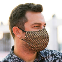 Load image into Gallery viewer, Face Mask Gold Mesh, washable face mask, reusable face masks, unisex face mask - BACCIO Couture