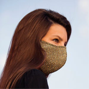 Face Mask Gold Mesh , washable face mask, reusable face masks, unisex face mask - BACCIO Couture