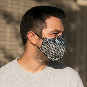 Sequins Gunmetal face masks, washable face mask, reusable face masks, unisex face mask - BACCIO Couture