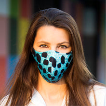 Load image into Gallery viewer, Face mask turquoise Leopard, washable face mask, reusable face masks - BACCIO Couture