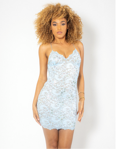 Naylet Full Crystal Light Blue Cocktail Dress