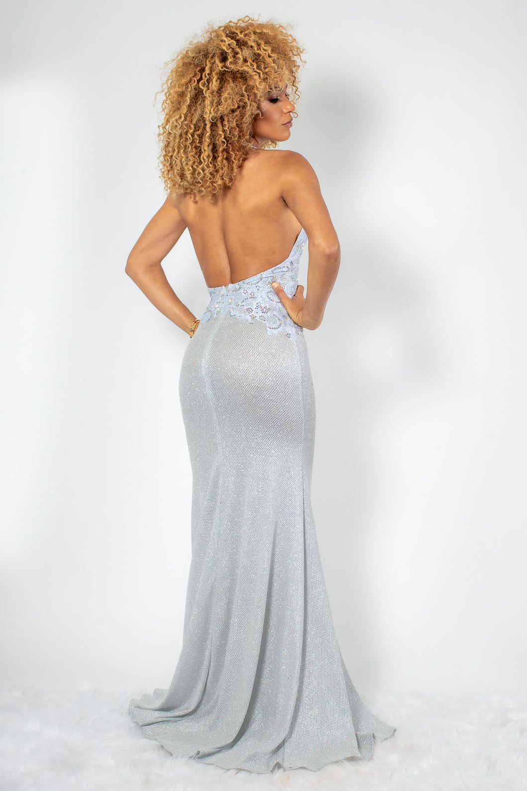 Lola Metallic Silver with White Crystal Long Dress - BACCIO Couture