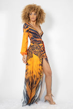 Load image into Gallery viewer, Mimi Orange Leopard Spandex with Gold Crystals Long Dress - BACCIO Couture