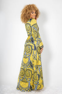 Duster Yellow Silk Long Dress - BACCIO Couture