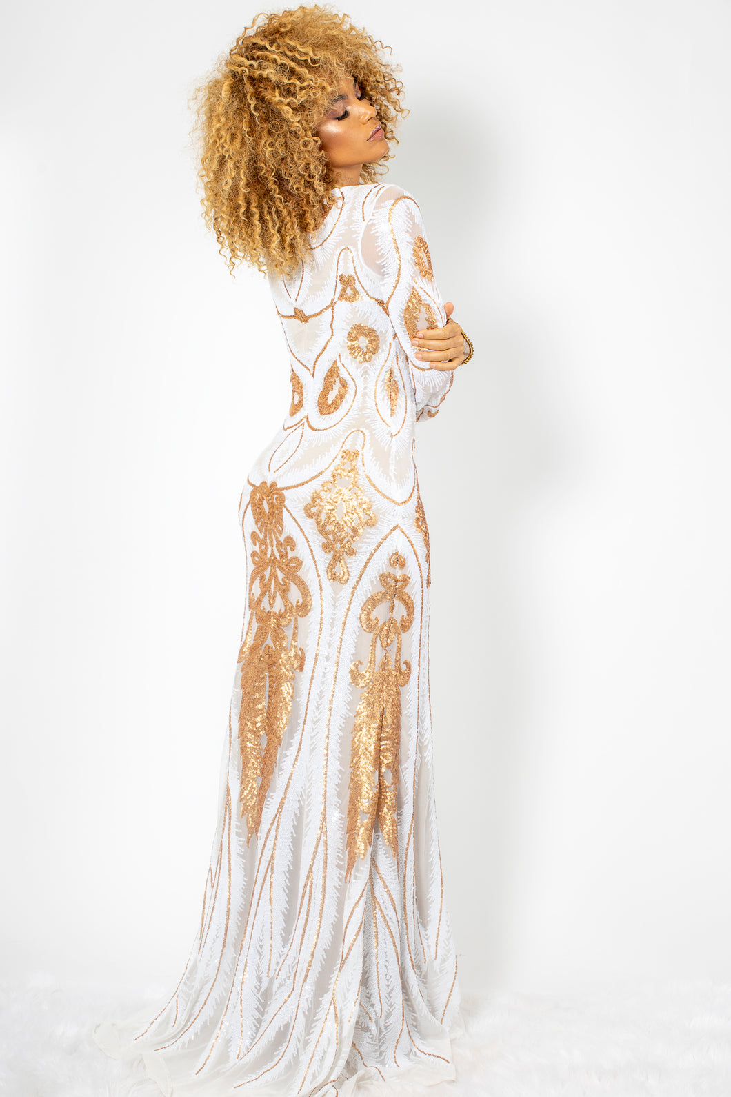Maesa Gold and White Sequins White Long Dress - BACCIO Couture