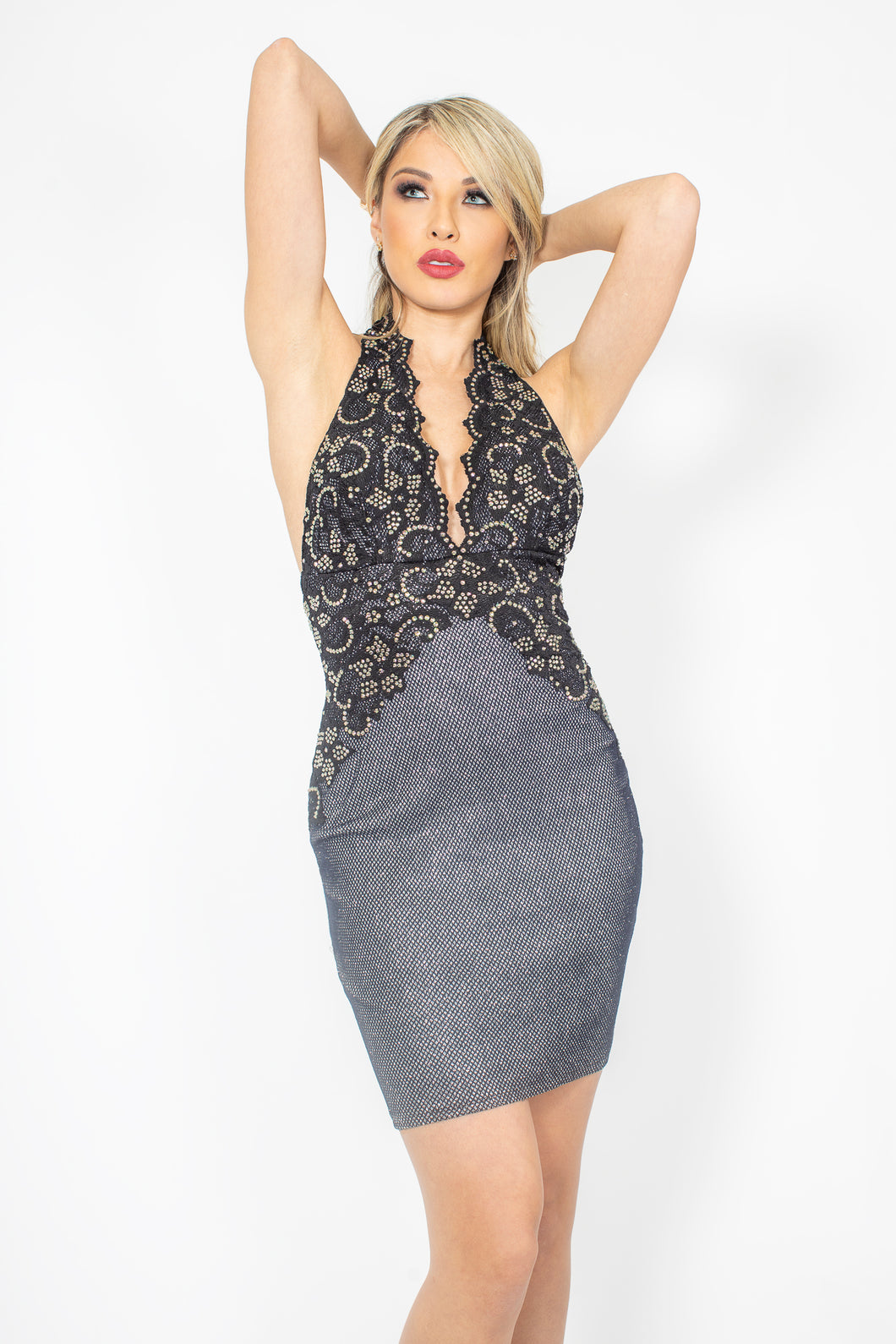 Lola Metallic Grey and Silver with Gold Crystal Cocktail Dress - BACCIO Couture