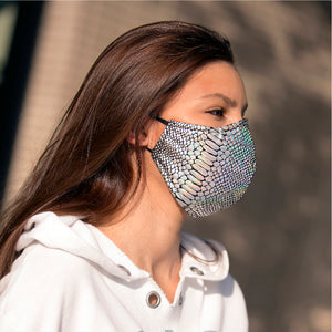 Silver Hologram face masks, washable face mask, reusable face masks, unisex face mask - BACCIO Couture