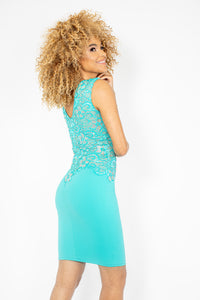 Amanda Turquoise Blue with Crystal Cocktail Dress - BACCIO Couture